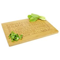 More durable than wood this 100% Bamboo Chopping Board features rounded corners and laser etched wording.  Sam- you'd like this?!