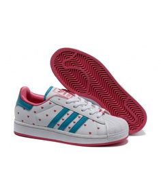 Adidas Superstar II White Pink Turquoise Shoes adidas-superstar-ii