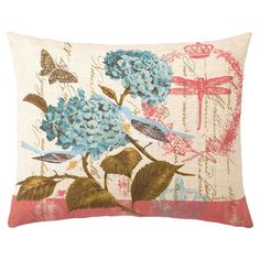 Down-filled pillow with a botanical motif.   Product: PillowConstruction Material: Linen-blend cover and feather-...