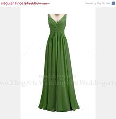 30% OFF SALE Forest Green Bridal dress FORMAL dress A-line chiffon dress prom dress with straps  Custom 120 colors Any size by WeddingArts on Etsy https://www.etsy.com/listing/176963011/30-off-sale-forest-green-bridal-dress