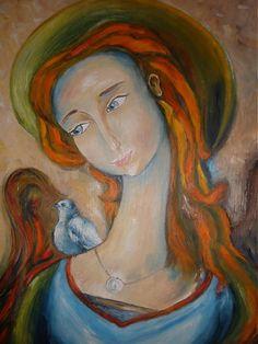 Anjel s vtáčikom na ramene