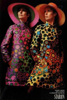 Jeanne Lanvin Colourful 1960s fashion designs