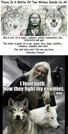 """This has always been my take on the """"Battle of Two Wolves"""" story. **A battle of two wolves inside us. Odin's wolves Geri and Freki Wisdom Quotes, True Quotes, Great Quotes, Motivational Quotes, Inspirational Quotes, Daily Quotes, Citations Viking, Viking Quotes, Warrior Quotes"""