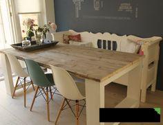 Idee voor een eettafel van steigerhout.