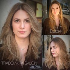 Although she is gorgeous in her before picture; this beauty was looking for a brighter blonde to spring her look towards summer and some length removed for versatility. #trademarksalon #blonde #balayage #hairpainting #goldwell #dreamteam #mastercolorists