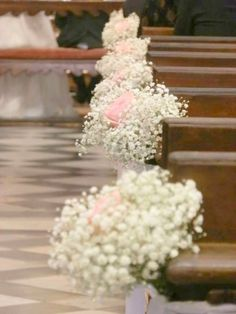 Babies breath and blush tulle wedding ceremony pew end decorations fullg 500666 junglespirit Choice Image