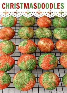 Christmasdoodles - the classic snickerdoodle made festive with red & green sugar!   Persnickety Plates