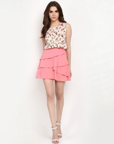 ##Women's fashion skirt made with polyester crepe and cotton voile ##Frills at front ##Zip fastening at side seam