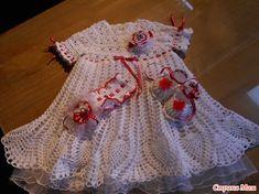 Kак я вязала белое плтье для малышки. возраст один годик. нитки Deco 8.