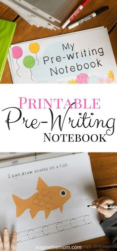 I created this prewriting notebook to allow our son to experience the very basic strokes of handwriting in a fun, no-pressure way.
