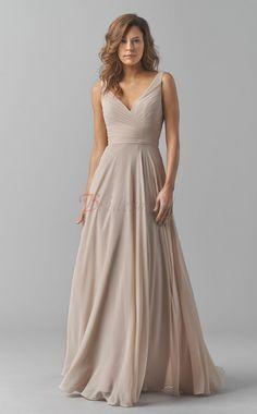 Gray A-line Chiffon V-neck Long Bridesmaid Dresses(BD1455)