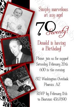 SALE - Simply Marvelous - Milestone Birthday Party Invitation - Any Age - Printable Digital File - 30th, 40th, 50th, 60th, 70th, 80, 90th. $16.00, via Etsy.