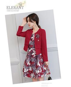 เดรสแฟชั่น Set เสื้อสูท และเดรสสีแดงเข้ม แฟชั่นเกาหลีมาใหม่ เสื้อสูท:ผ้าคอตตอนผสมโพลีเอสเตอร์ สีแดงเข้ม แขนยาว มีตะขอให้ติดช่วงเอว