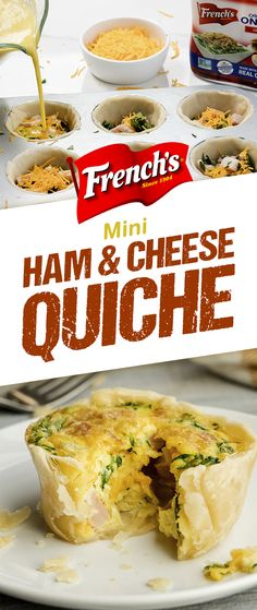 Whether it's Easter brunch, lunch or dinner, your friends and family will love these Mini Ham and Cheese Quiches. Freeze leftovers for an easy, on-the-go, make-ahead breakfast idea. Brunch Recipes, Breakfast Recipes, Dinner Recipes, Brunch Ideas, Brunch Appetizers, Brunch Food, Denmark Food, Ham And Cheese Quiche, Low Carb Recipes