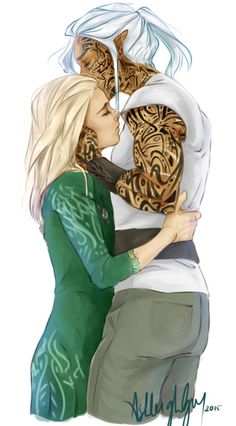 Aelin and Rowan, Heir of Fire. This isnt really how i would visualise his tattoo, but i still love the deep affection they show for each other in this pic.