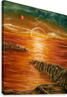 Fantasy, seascape,sunset,sunrise,mesmerizing,colorful,orange,painting, decor,wall art, canvas print, artwork,for sale,pictorem
