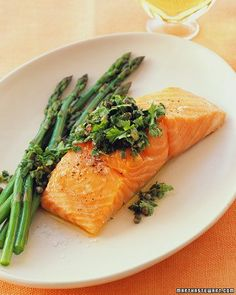 Slow-Roasted Salmon with Caper-and-Herb Relish