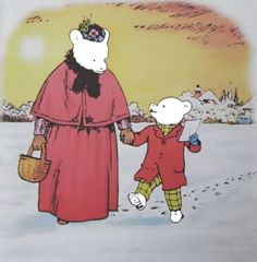 Rupert Bear and his Mom go shopping
