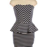 Navy Stripe Peplum dress: Hazel & Olive / new