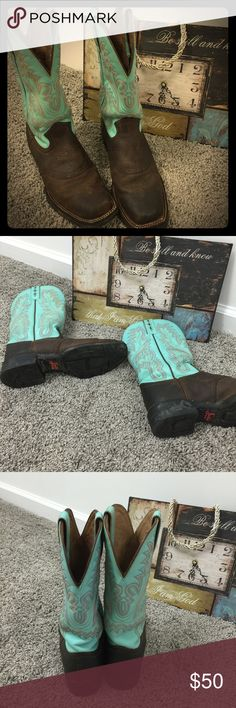 Justin Boots❤️ Justin Cowgirl Boots! Beautiful Design in the turquoise! A MUST HAVE! Justin Boots Shoes