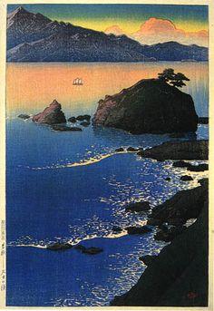 Kude Beach, Wakasa  by Kawase Hasui, 1920  (published by Watanabe Shozaburo)