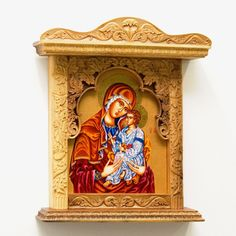 Wall Art Wood Carving Virgin Mary and Jesus Orthodox by MariyaArts
