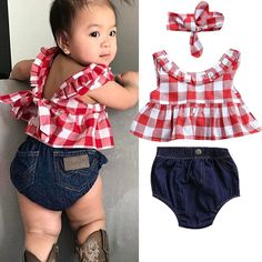 USA Summer Baby Girl Clothes 3Pcs Outfits Set Dress Tops+Denim Pants+Headband #Unbranded #summer blue jean panty and red checkered top set