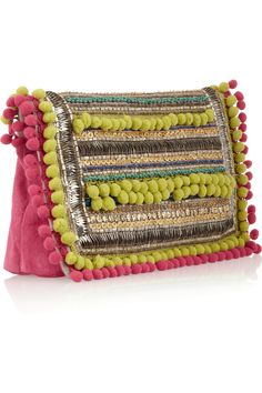 matthew williamson pom pom clutch   you could do something like this with blue jeans, ribbons, nd pom-poms