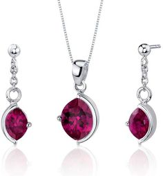 Ice 6 CT TW Lab-Created Ruby Sterling Silver Earrings and Pendant Necklace Set
