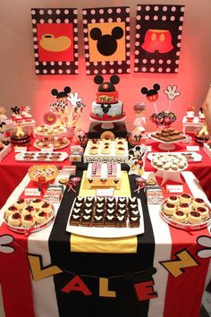 Incredible dessert table at a Mickey Mouse birthday party! See more party ideas… Mickey Mouse Birthday Theme, Theme Mickey, Minnie Y Mickey Mouse, Fiesta Mickey Mouse, Mickey Mouse Clubhouse Birthday, Mickey Mouse Parties, Mickey Party, Mickey Mouse Desserts, 2nd Birthday