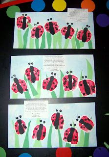 Fist print Ladybugs- read about lady bugs and make your own with your fist and finger paints