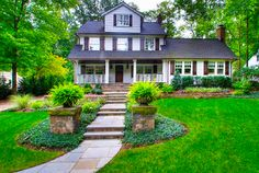 front yard ideas I like the stone pillars by the steps