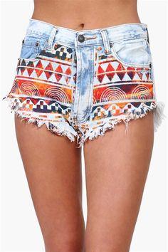 Aztec Denim Shorts.