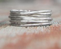 Stacking Skinny Rustic Rings Silver Rings SEVEN by amywaltz, $65.00