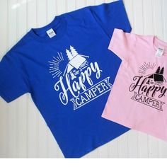Happy Camper Kids Summer shirts is one of our most popular summer shirts and comes in a variety of color combinations