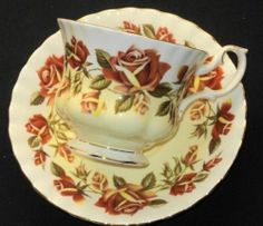 Royal Albert Rust Orange Brown Roses Gold Yellow
