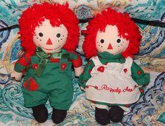 "Snowden Raggedy Ann & Andy Plush Holiday Rag Dolls 8"" Tall 1998 Stuffed Animal  #commonwealth #DollswithClothingAccessories"