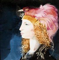 Nő madárdíszes kalapban by Endre Szasz