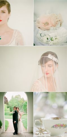 Downtown Abbey inspired wedding. Love the veil over her fece!