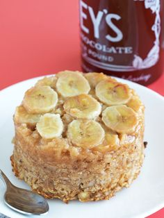 Banana upside down cake in breakfast form! This vegan baked oatmeal is topped with caramelized bananas, making it taste more decadent than it actually is.