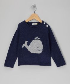 Navy Whale & Star Cashmere Sweater by baby