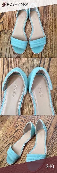 New Jcrew light blue flats Never worn! These are in perfect condition and are very comfortable.  Open toe design that is perfect for any summer look or a new innovative sandal. Color is beautiful and these are guaranteed to get you lots of compliments!! J. Crew Shoes Sandals