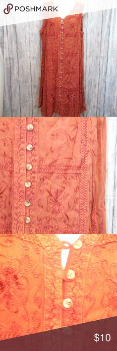 Burnt Orange Shift Dress with Embroidery Detail NWT Full button down dress Burnt orange with brown through out Dresses