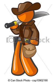 naranja, hombre, aventurero, machete - csp10902190