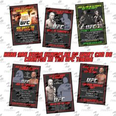 UFC Birthday Invitations & matching Party Supplies available . Custom Party Invitations, Birthday Invitations, Party Plates, Party Cups, Diy Party, Party Favors, Fight Night, Disney Scrapbook, Party Guests