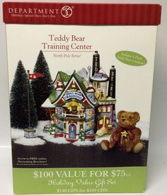 Dept. 56 North Pole Teddy Bear Training Center Lighted Building Set #56774