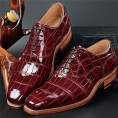 Alligator leather shoes for men, Luxury leather dress shoes for men