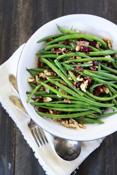 Sauteed Garlic Bacon Green Beans Recipe (with walnuts and dried cranberries)
