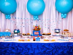 Noah's Ark 1st birthday party dessert table by Sweet E's Bake Shop