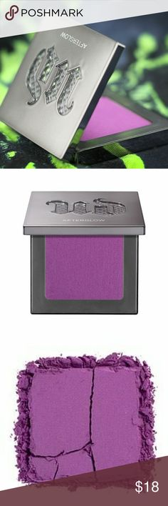 UD Afterglow 8HR Powder Blush in Bittersweet A pretty, blendable, wearable, finely-milled powder that sweeps on beautifully and delivers 8 hrs of streak free color with your choice of setting spray. It will not last 8 hrs without some type of setting product.   Bittersweet is a bright purple. The finely-milled formula allows it to go on sheer so you can control the intensity.  Swatched ONCE. Practically brand new in box. Whoever purchases this will get the mini Bittersweet gloss listed in my…